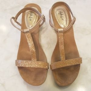 Rose Gold Strappy Wedges